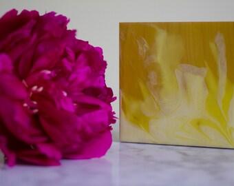 "Mini painting, original fluid acrylic art on wood panel, called ""Lemon Bars and Forsythia"" by Kirsten Gilmore"