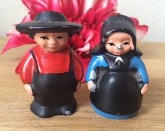 SALE!-Vintage Cast Metal Amish Couple Salt & Pepper Shakers,