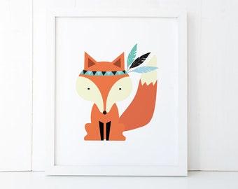 Wall Print - 8 X 10 - Wall Art - Fox with Feathers - PRI002 - Boy or Girl Art Print - Home Decor