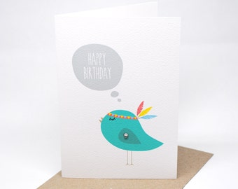 Birthday Card Female - Turquoise Birdie with Feathers - HBF137 / Happy Birthday Girl