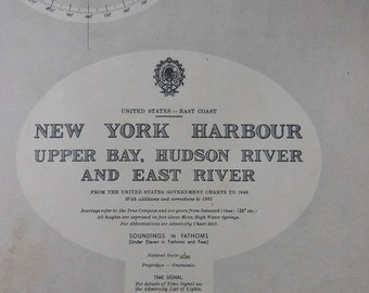Vintage Nautical Chart of New York Harbour/Upper Bay,Hudson River and East River