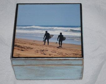 Wooden Beach Box,  surfer keepsake box