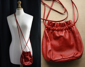 1980's Leather purse, red color, supple skin.
