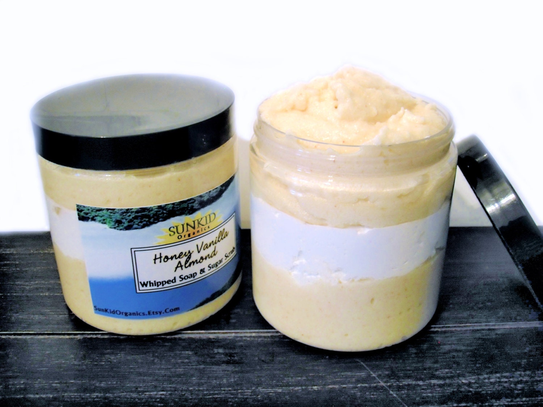 Honey Vanilla Almond Sugar Scrub and Whipped Soap SLS Free