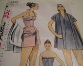 Vintage 1950's Simplicity 3899 Bathing Suit and Beach Coat, Size 13, Bust 31