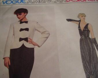Vintage 1980's Vogue 2286 American Designer Bill Blass Jacket and Dress Sewing Pattern, Size 12, Bust 34