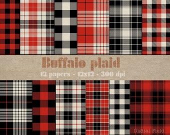 Buffalo Plaid digital scrapbooking paper pack - 12 red black check printable jpeg papers, 12x12, 300 dpi - instant download