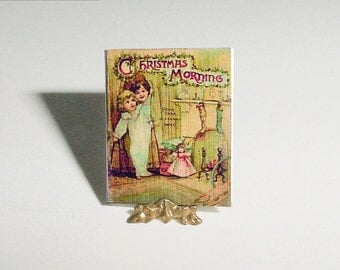 Miniature Book CHRISTMAS MORNING - Raphael Father Tuck and Sons - Dollhouse Miniature One Inch 1/12 Scale Childrens Nursery Book Accessory