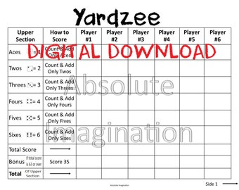 PRINTABLE. LARGE PRINT. Yardzee Score Card. Yardzee Board. Lawn Yahtzee Score Card. Digital Download