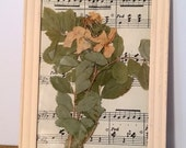 Blossoming Branch Pressed Flower Art on Antique Music