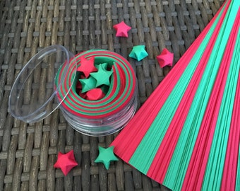 Christmas Red Green Origami Lucky Stars Paper Strips Kraft Kit, 100 count
