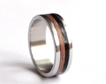 Titanium Wedding Ring, Mens Wedding Band, Ebony Wood Mens Ring, Mahogany Wood Wedding Ring