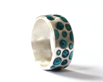 Wedding ring, women band, sterling silver wedding ring with aqua turquoise inlay