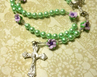 Little Girls Spring Violets First Communion Rosary