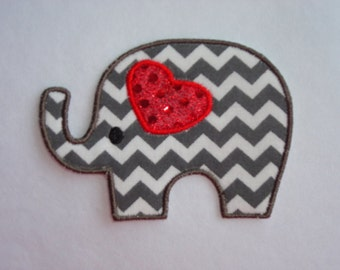 Elephant Patch, Gray Chevron Elephant Iron On Patch with Red Sequin Ear