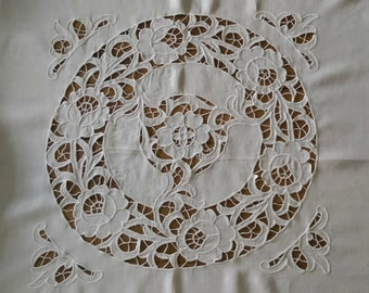 "Antique White Irish linen hand embroidered tablecloth - 48"" square"
