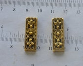 2pcs-3hole, gold space bar, connector, antique gold brass, 12x27mm, three strand necklace