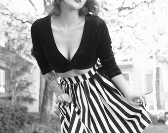 Black & White Striped Trixie Skirt - vintage style custom handmade reproduction