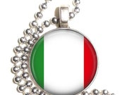 Italy Flag, Altered Art Pendant, Earrings and/or Keychain, Round Photo Silver and Resin Charm Jewelry, Flag Earrings, Flag Key Fob
