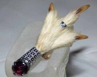 Vintage Scottish Ptarmigan / Grouse Claw Brooch Kilt Pin with Amethyst Cut Glass Stone
