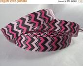 "Pink, Black and White Chevron Ribbon, Grosgrain ribbon Craft Supplies, 7/8"" Ribbon by the yard, RN15058"