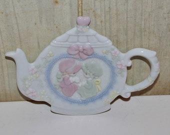 Vintage Precious Moments Teapot Spoon Rest - Teabag Holder - Collectibles - Porcelain - Americana - Home Decor - Kitchen & Dining - Teapot