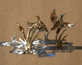 Metal Wall Sculpture of Ducks in Pond Setting