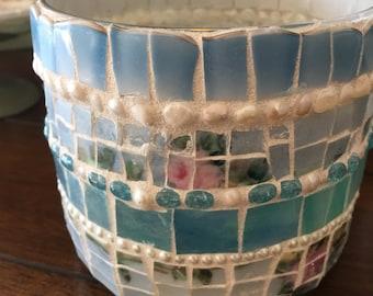 MOSAIC CANDLE HOLDER - Glass Votive - Blue & Pink Floral  Vintage China- Candle- Luminary- Votive- Mosaic