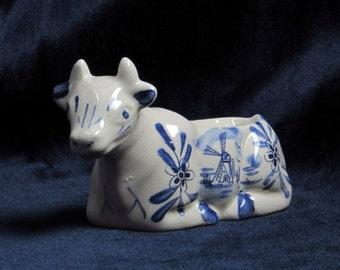 Delftware Cow Planter - Made in Holland - Vintage Home Decor