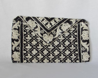 Black and White Stitched Clutch - Dress Purse - Evening Bag
