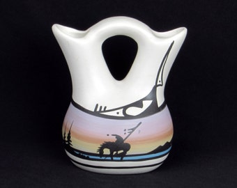 Signed Studio Pottery - Double Neck Wedding Vase - Southwest American Indian Decor
