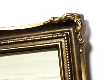 Vintage,1970s 8x10 Frame by IIC Made in USA 1973 #2035,, Antique Brass Tone, Paintable