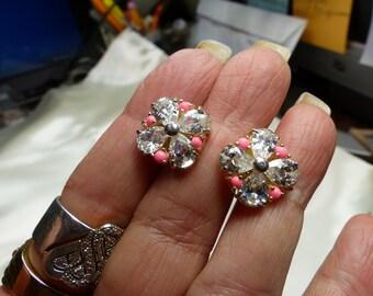 Big Pear Cut CZ Earrings w pink accents. SM 1655