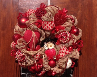 Owl Valentine's Day Wreath