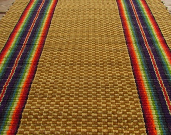 RAG RUG Runner Handwoven Farm House Stripe Rainbow Carpet Traditional  Functional Sustainable