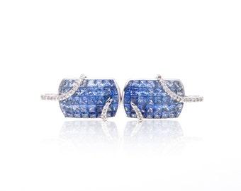 Multicolor Light to Dark Blue Sapphire & Diamond Fancy 18K Gold Earrings (7.82ct tw): SKU 23826