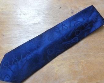 Carlos Santana Guitar silk necktie satiny dark blue with guitars