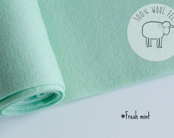 "Pure wool felt in Fresh mint, 100% wool felt band 20cm by 91cm (9"" x 36""), 1 - 1,2mm - Ships from Ireland"