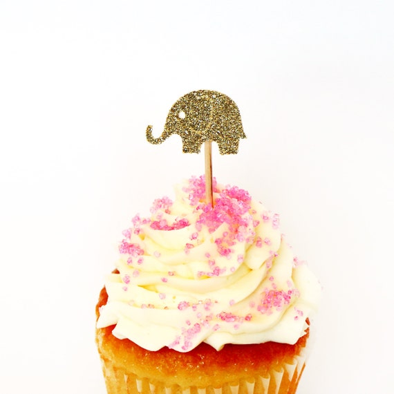 Gold Glitter Elephant Cupcake Toppers - Birthdays, Parties, Weddings, Decoration, Baby Shower