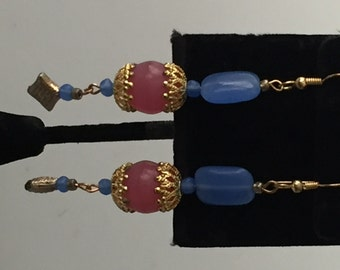 IBA  Earrings Handcrafted Earrings CORNFLOWER Blue Dangle Earrings Glass Stones Vintage Beads Inspired by Amber jewelry Line OPAQUE Glass