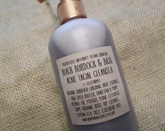 VEGAN-Black Burdock & Basil Acne Vegan Facial Cleanser-African Black Soap-Fights Acne-Cleanses-Antioxidants-Fades Scarring-Moisturizes-4 oz.