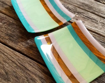 Wonder Twins- fused glass party plates pair; small bites dessert/ appetizer, special occasion, decorative; food safe. Ready to ship.
