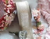 Natural and Gold Ribbon, Gold Accented Ribbons, Gold Ribbons, Gold, Natural Ribbons, Wreath Ribbons, Home Decor Ribbons, Rustic Chic Ribbon