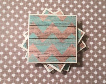 Tile Coasters Set of Four: Blue and Brown, Wood, distressed, Felt-Backed, Water-proof