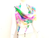 Large Silk Wrap Abstract Floral Beaded Tassels
