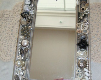 Vintage Jewelry Decorated Vintage Mirror