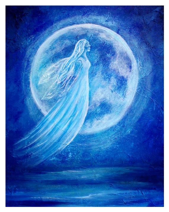 Water Angel-Original 8 x 10 Fine Art Modern Print, Acrylic Blue-Elemental Earth Angel of Water,Inspirational-Ocean-Moon Painting-Wall Art