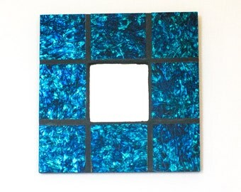 Stained Glass Mirror, Mosaic Wall Art, Decorative Mirror, Unique Home Accent, Blue and Green, Living Room Decor, Wedding Gifts for Couple