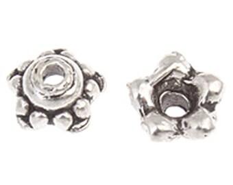 24pc 7mm antique silver finish metal bead caps-10310