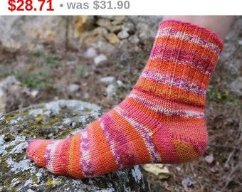 10%SALE Winter Wool Socks. Winter Hand Knitted Women Socks. Self Stripped Socks Wool Yarn. S Women Size